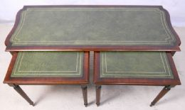 Nest of Three Mahogany Georgian Style Tables with Green Leather Tops